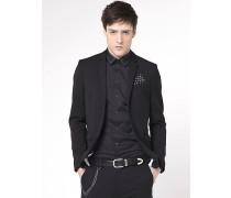 Klassische Jacke mit 2 Knöpfen aus Gabardine-/Wollgemisch mit Stretch