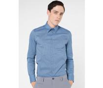 Slim-Fit-Hemd mit langen Ärmeln aus bedruckten Stretch-Baumwollpopelin