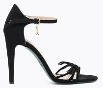 Sandalen aus Sämischleder mit Absatz
