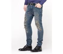 Super-Skinny 5-Taschen-Hose aus indigofarbenem Denim mit Stretch