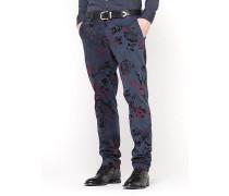Klassische schmale Hose aus Baumwollflanell mit Stretch