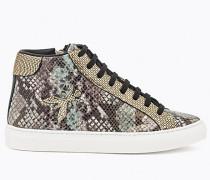 Sneakers aus Leder mit Pythoneffekt