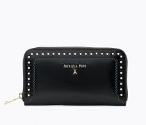 Portemonnaie aus glänzendem, geschmirgeltem Leder