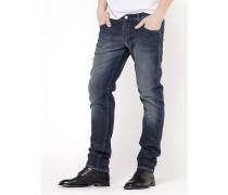 Skinny-Hose mit 5 Taschen aus Denim-Segeltuch im japanischen Look