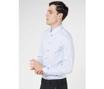 Slim-Fit-Hemd mit langen Ärmeln aus Baumwollstretch-Popelin