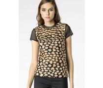 T-Shirt aus Tüll mit Stickerei mit Raubtiermustereffekt