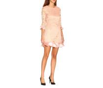 Kurzes Kleid aus Spitze mit Rüschen