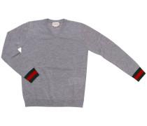 Pullover Polo Aus Schurwolle Mit V-ausschnitt Und Web Handgelenken