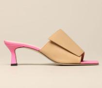 Sandale aus Glattem Zweifarbigem Leder