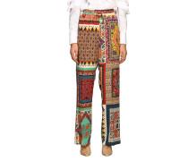 Weite Hose aus Seide mit Patchwork Muster