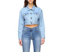 Jeansjacke mit Großem Rücken Logo