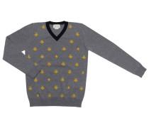 Pullover Polo Aus Schurwolle Mit V-ausschnitt Und Bienenmuster