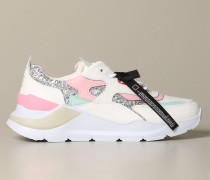 Sneakers aus Leder und Glitter