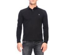 Slim Fit Langarm-poloshirt aus Baumwolle