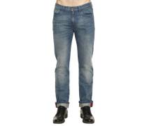Jeans Straight Regular Fit Mit Aufschlag Und Web Detail