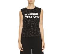 T-shirt ärmelloses Shirt Mit Multi-strasssteinen Und Boutique C'est Chic Schriftzug