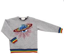 Pullover Sweatshirt Mit Rundem Halsausschnitt Und Maxi Saturn Galaxy In Pailletten Mehrfarbigen Gestreiften Rändern