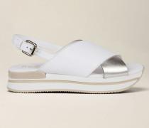 Sandale aus Glattem und Laminiertem Leder
