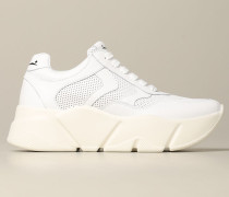 Sneakers aus glattem und perforiertem Leder