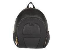 Emblem M Leather Backpack Black