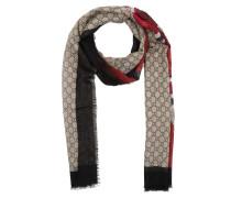 Web and Kingsnake Print Wool Scarf Ebony/Navy Schal beige