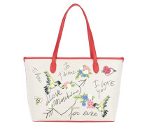 Je t aime Canvas Tote Rosso rot