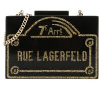 Rue Lagerfeld Minaudiere Black Clutch gold