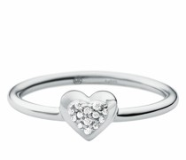 Ring Sterling Silver Pavé Heart Focal
