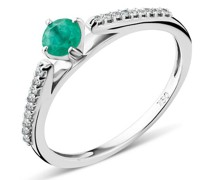 Ring 18KT Diamond and Emerald