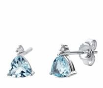 Ohrringe 9KT Earrings with Diamonds and Aquamarine