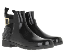 Boots Refined Gloss Quilt Chelsea Black