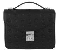 Patricia Embossed Satchel Bag Medium Black
