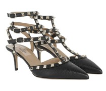 Pumps Rockstud Ankle Strap Grained Leather Black