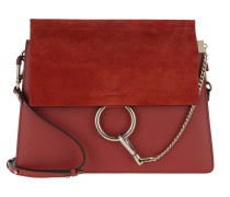 Faye Tote Bag Suede Flap Terracotta Red