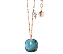 Halskette Necklace Happy Holi Topas London Blue Cabochon Rosegold