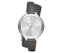 Armbanduhr - Slim Runway Silver-Tone and Leather Wrap Watch Anthracite