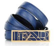Kleinleder - Thin Leather Belt Gold Buckle Bluette