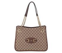 Shopper Medium Horsebit Shopping Bag Leather Beige Ebony