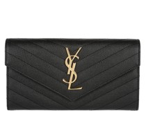 Portemonnaie YSL Monogramme Flap Wallet Grain De Poudre Leather Nero