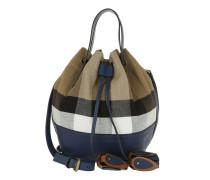 Heston Canvas Check Bucket Bag SM Brilliant Navy Beuteltasche blau