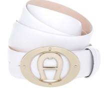 Kleinleder - Logo Belt Leather White