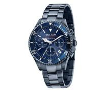 Uhren 43Mm Ip Blue Case Chrono Mvt Dial Bracelet