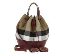 Heston Canvas Check Bucket Bag SM Burgundy Red Beuteltasche rot