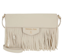 Fringed Shopping Bag White/Gold Paillettes Umhängetasche beige