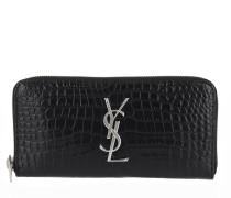 YSL Monogramme Wallet Croco Black