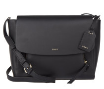 Greenwich Flap Messenger Bag Leather Black