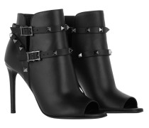 Rockstud Ankle Boots Open Toe Calfskin All Black Pumps