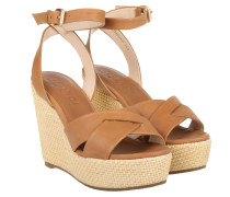 Sandalen - Emilia High Wedge Sandal Cognac