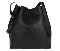 Carmen Calf Leather Bucket Bag Black/Red