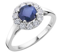 Ring 18KT Sapphire And Diamond White Gold